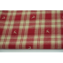 Decorative fabric burgundy-beige check with deer 140cm