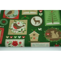 Decorative fabric, Christmas stamps on a green background 200g / m2