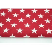 Tkanina dekoracyjna, żakardowe gwiazdki czerwono-białe