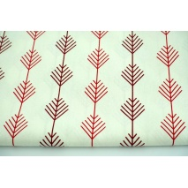 Decorative fabric, red, burgundy twigs on ecru