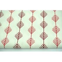 Tkanina dekoracyjna, gałązki czerwone, bordowe na ecru