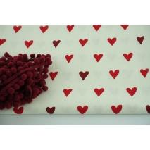 Decorative fabric, red, burgundy hearts on ecru background