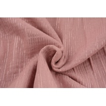 Double gauze 100% cotton plain dirty pink (2) with lurex stripes