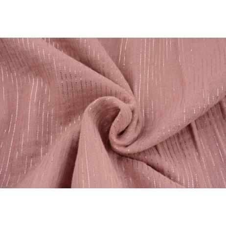 Double gauze 100% cotton plain dirty pink (2) with lurex stripes