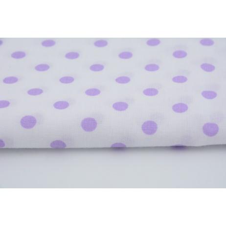 Bawełna 100% fioletowe kropki 7mm na białym tle
