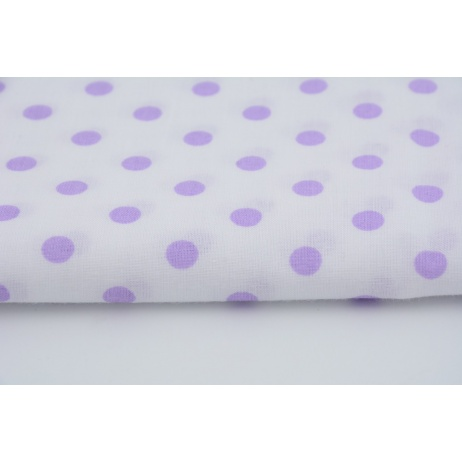 Cotton 100% violet polka dots 7mm on a white background