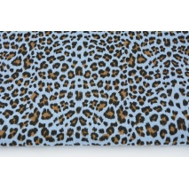 Double gauze 100% cotton panther pattern on a blue background