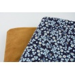 Cotton 100% mini blue-mustard flowers on a navy background, poplin
