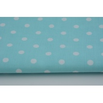 Cotton 100% white polka dots 7mm on a turquoise background