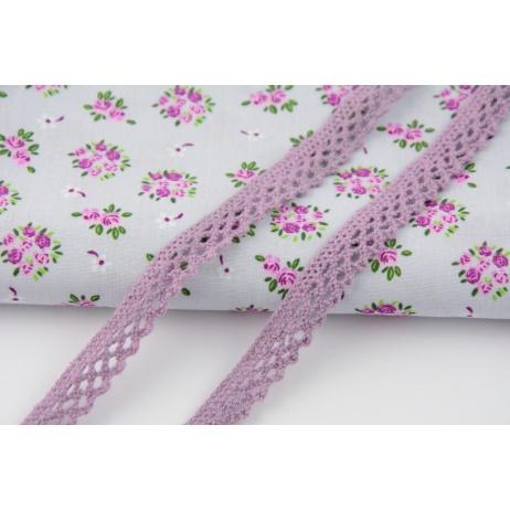 Cotton lace, heather 12mm x 5m