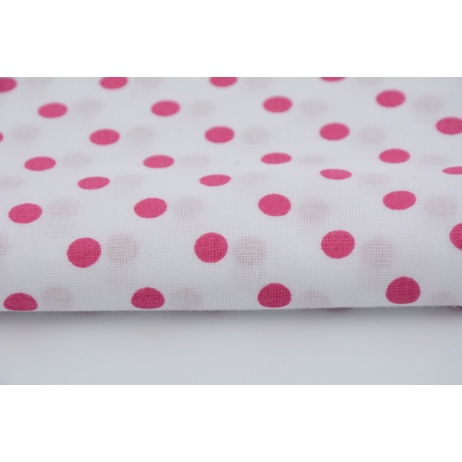 Cotton 100% magenta polka dots 7mm on a white background