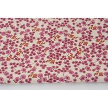 Cotton 100% mini pink mustard flowers on a cream background, poplin