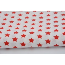 Cotton 100% 1cm red stars on a white background