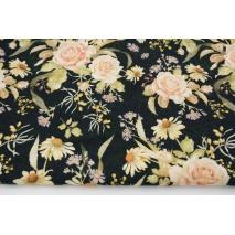 Cotton 100% tea roses on a black background DP