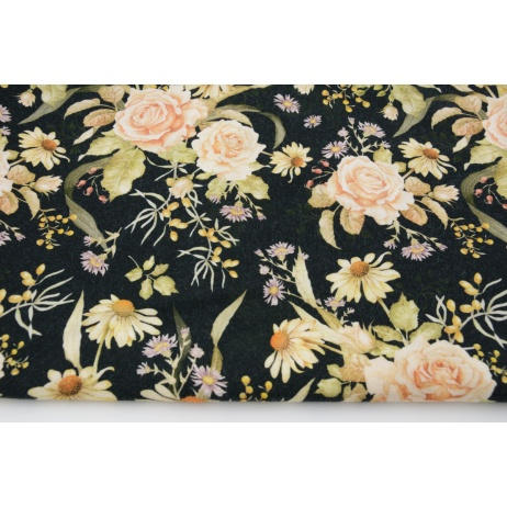 Cotton 100% tea roses on a cream background DP