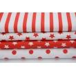 Bawełna gwiazdki czerwone 1cm na białym tle