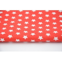 Cotton 100% 1cm white stars on a red background