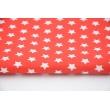 Bawełna gwiazdki białe 1cm na czerwonym tle