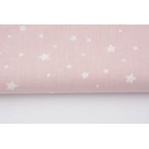 Bawełna 100% gwiazdki białe na pudroworóżowym tle