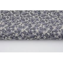 Bawełna 100% grafitowe kwiatki na szarobeżowym tle, popelina