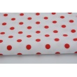 Cotton 100% red polka dots 7mm on a white background
