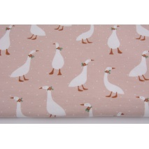Organic jersey, geese on a powdery pink background