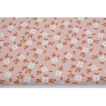 Organic jersey, flowers on a powdery pink background