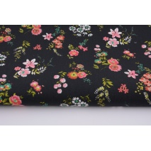 Cotton LAMINATED coral flowers on a black background (coated)