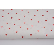 Cotton 100% red hearts on a white background, poplin