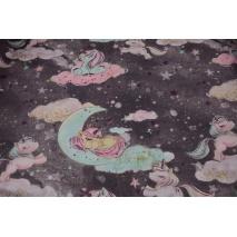 Cotton 100% unicorns on the moon