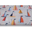 Cotton 100% sailboats, gulls on a pigeon background