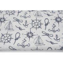 Cotton 100% nautical theme on a white background