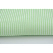 Cotton 100% pistachio stripes 2mm on a white background