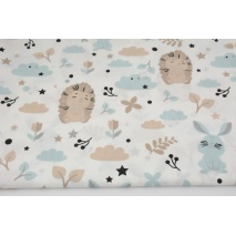 Cotton 100% hedgehogs, clouds on a white background