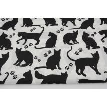 Bawełna 100%, czarne koty, łapki na białym tle
