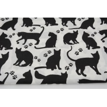 Cotton 100% black cats, paws on a white background