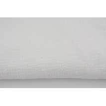 100% cotton, double gauze embroidered A, white