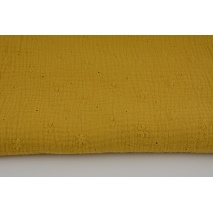 100% cotton, double gauze embroidered A, mustard