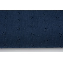 100% cotton, double gauze embroidered B, navy