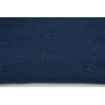 100% cotton, double gauze embroidered C, navy