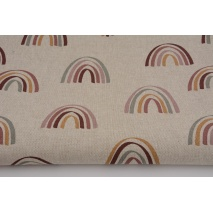Decorative fabric, rainbows on a linen background 200g/m2