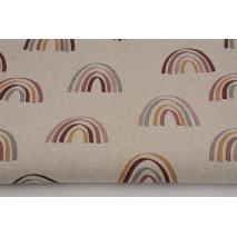 Tkanina dekoracyjna, tęcze na lnianym tle 200g/m2