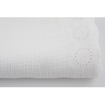 100% cotton, double gauze 1-side embroidered border, white