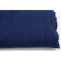 100% cotton,  double gauze 1-side embroidered border, navy