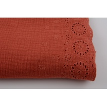 100% cotton,  double gauze 1-side embroidered border, bright brick red
