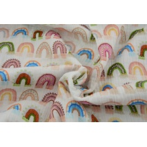 Muślin bawełniany, kolorowe tęcze druk cyfrowy