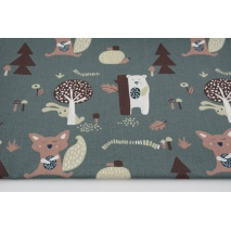 Cotton 100% teddy bears, foxes, hedgehogs on a stone gray background