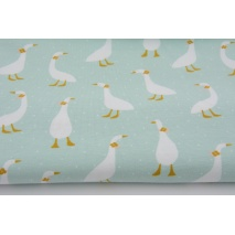 Organic jersey, geese on a mint background