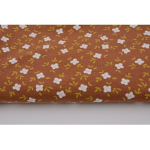 Organic jersey, flowers on a ginger background