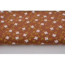 Organiczny jersey, kwiatki na rudym tle